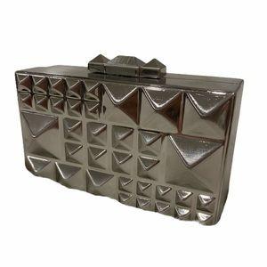 BCBG Dee pyramid hard case clutch w/ strap